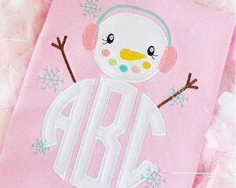 SnowMan with Ear Muffs Monogram Applique Shirt or Bodysuit Boy or Girl