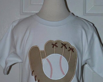 Personalized Baseball and Glove Applique Shirt or Bodysuit Girl or Boy