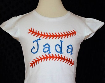Personalized Baseball Stitching with Name Applique Shirt or Bodysuit Girl or Boy