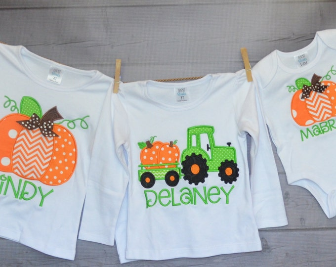 Featured listing image: Personalized Pumpkin or Tractor with Pumpkins Applique Shirt or Bodysuit for Boy or Girl