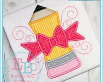 Personalized Pencil with Bow Applique Shirt or Bodysuit Girl
