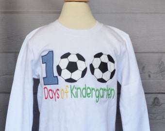 100 Days of School Kindergarten Soccer Applique Shirt or Bodysuit Boy or Girl