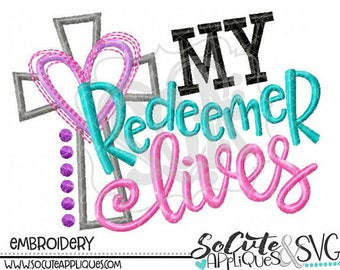 Personalized My Redeemer Lives Cross with Heart Applique Shirt or Bodysuit Girl or Boy