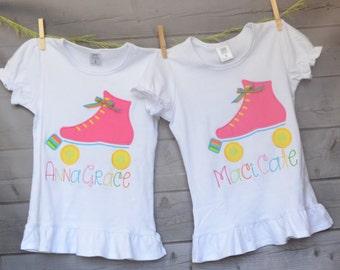 Roller Skate Birthday Applique Shirt or Bodysuit Boy or Girl