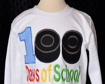 100 Days of School Hockey Pucks Applique Shirt or Bodysuit Boy or Girl