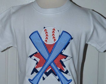 Personalized Baseball and Crossed Bats Applique Shirt or Bodysuit Girl or Boy
