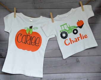 Personalized Pumpkin or Tractor with Pumpkin Price Shown is for 1 Shirt Heat Press Vinyl Shirt or Bodysuit for Boy or Girl