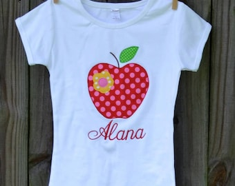 Personalized Apple Applique Shirt or Bodysuit Girl