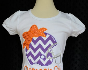Personalized Name your Team Clemson Football Helmet with Bow Applique Shirt or Bodysuit