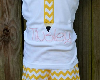 Personalized Pencil Initial Applique Shirt or Bodysuit Girl or Boy