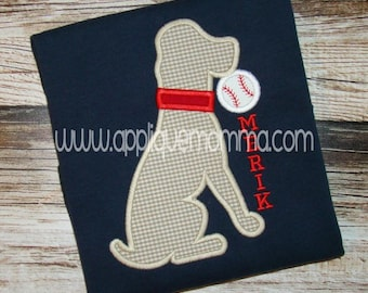 Personalized Baseball Softball Dog Applique Shirt or Bodysuit Girl or Boy