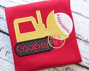 Personalized Baseball Softball Tractor Applique Shirt or Bodysuit Girl Boy