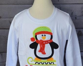 Penguin on Sled Applique Shirt or Bodysuit Boy or Girl Choose your color!