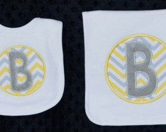 Personalized Monogram Initial Applique Gown Burp Cloth Bib Bodysuit for Baby Boy or Girl