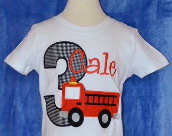Personalized Birthday Firetruck Applique Shirt or Bodysuit Girl or Boy