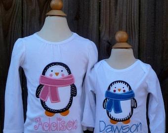Penguin Applique Shirt or Bodysuit Boy or Girl