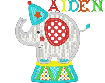 Personalized Circus Elephant Applique Shirt or Bodysuit Girl or Boy