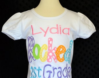 """Personalized """"Your Child's Name"""" Rocked Kindergarten 1st 2nd 3rd Grade Applique Shirt or Bodysuit Girl or Boy"""