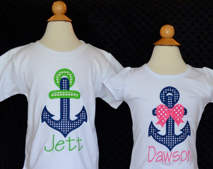Featured listing image: Personalized Anchor Applique Shirt or Bodysuit Girl or Boy