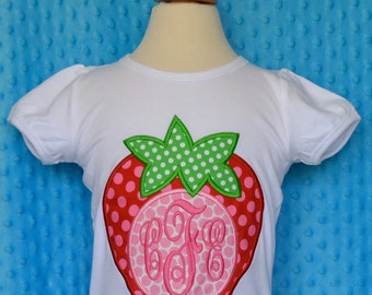 Personalized Strawberry Initial Applique Shirt or Bodysuit Girl