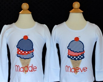 Personalized Ice Cream Cone Applique Shirt or Bodysuit Girl
