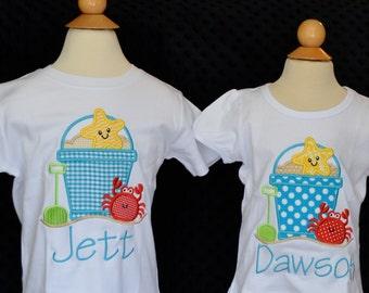 Personalized Sand Beach Pail Bucket Starfish Crab Shovel Applique Shirt or Bodysuit Girl