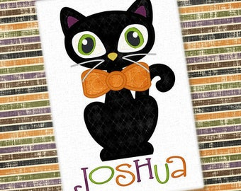 Personalized Halloween Boy Cat with Bowtie or Girly Kitty Cat with Bow or Witch Hat Applique Shirt or Bodysuit for Boy or Girl