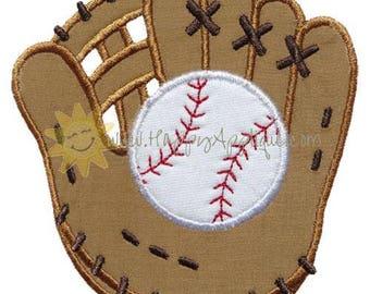 Personalized Baseball Softball Glove with Ball Monogram Applique Shirt or Bodysuit Girl Boy