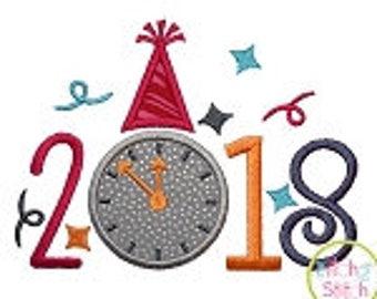 Happy New Year 2018 Applique Shirt or Bodysuit Boy or Girl