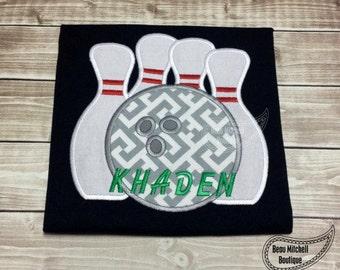 Personalized Bowling Pins Bowler Applique Shirt or Bodysuit