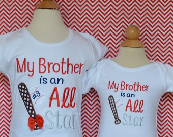 Personalized My Brother is an All Star Baseball Applique Shirt or Bodysuit Girl