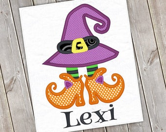 Personalized Halloween Girly Witch Hat with Shoes Applique Shirt or Bodysuit for Boy or Girl