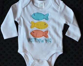 Personalized 3 Fish Applique Shirt or Bodysuit Girl or Boy