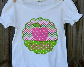Personalized Monogram Apple Patch Applique Shirt or Bodysuit Girl or Boy