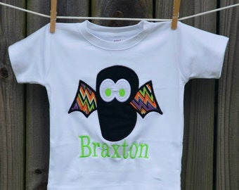 Personalized Halloween Initial Bat Applique Shirt or Bodysuit for Boy or Girl