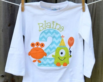 Personalized Birthday Monster Applique Shirt or Bodysuit Girl or Boy