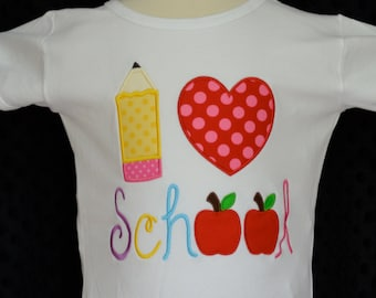 Personalized I Heart School Applique Shirt or Bodysuit Girl or Boy