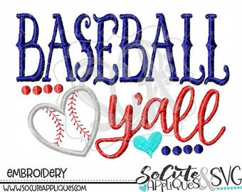 Personalized Heart Baseball Ya'll Applique Shirt or Bodysuit Girl