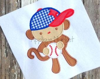 Personalized Baseball Softball Monkey Applique Shirt or Bodysuit Girl or Boy
