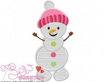 Personalized SnowMan Girl Applique Shirt or Bodysuit Boy or Girl