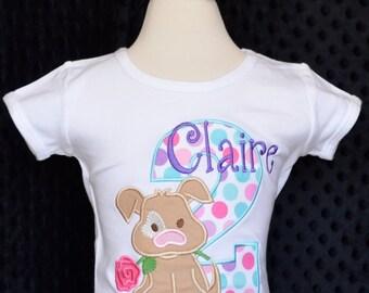 Personalized Birthday Puppy Applique Shirt or Bodysuit Girl or Boy