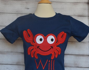 Personalized Crab Applique Shirt or Bodysuit Boy or Girl