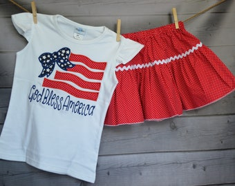 Personalized 4th of July Patriotic Flag with Bow Applique Shirt or Bodysuit Girl Boy - Skirt Available for Order