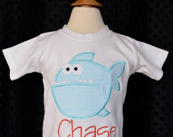 Personalized Fish Applique Shirt or Bodysuit Boy or Girl