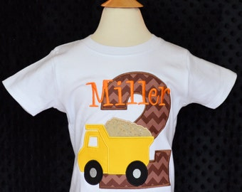 Personalized Birthday Applique Shirt or Bodysuit Girl or Boy Dump Truck