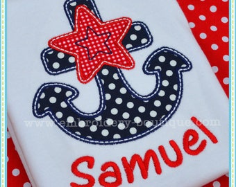 Personalized 4th of July Anchor Applique Shirt or Bodysuit Boy or Girl