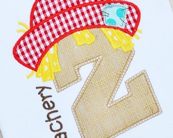 Personalized Scarecrow Initial Applique Shirt or Bodysuit for Boy or Girl