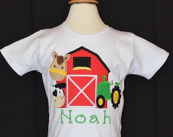 Personalized Birthday Barn Tractor Cow Horse Applique Shirt or Bodysuit Girl or Boy