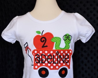 Personalized Birthday Wagon with Apple and Bookworm Applique Shirt or Bodysuit Girl or Boy