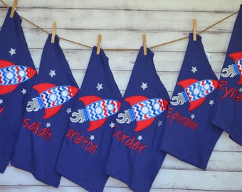Personalized 4th of July Rocket Applique Shirt or Bodysuit Girl Boy